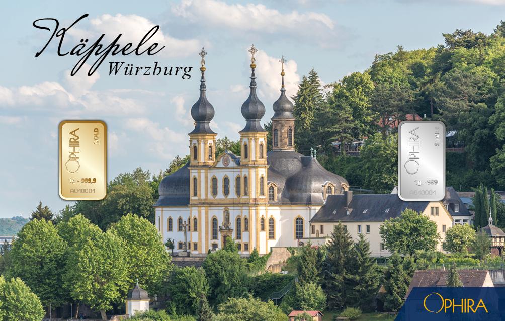 Geschenkbarren Würzburg Käppele mit 1 g Feingold und 1 g Feinsilber