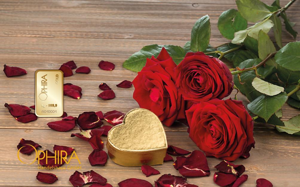 Geschenkbarren Motivbarren Valentinstag Geburtstag Muttertag Gold Rosenstrauß mit einem Goldbarren in Kunststoffgehäuse und edlem Etui