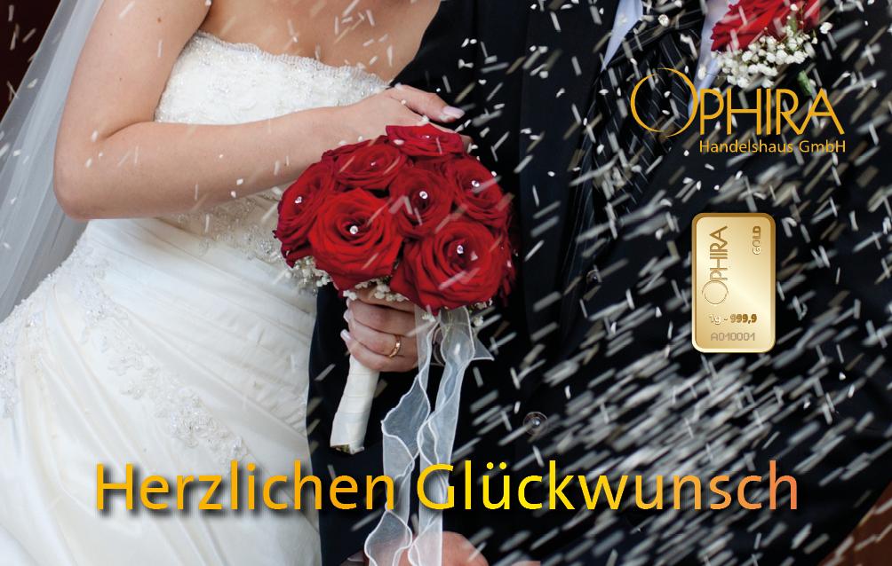 Geschenkbarren Motivbarren Gold Hochzeit Herzlichen Glückwunsch mit einem Goldbarren in Kunststoffgehäuse und edlem Geschenketui