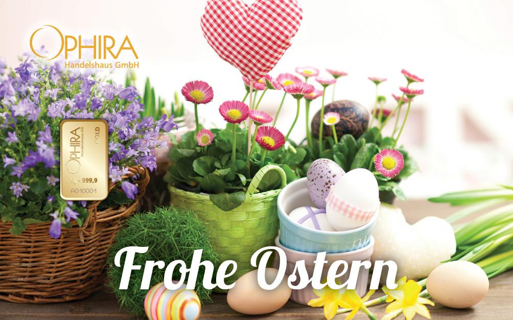 Geschenkbarren Motivbarren Gold Frohe Ostern mit Goldbarren LBMA zertifiziert in Kunststoffgehäuse und edlem Gechenketui
