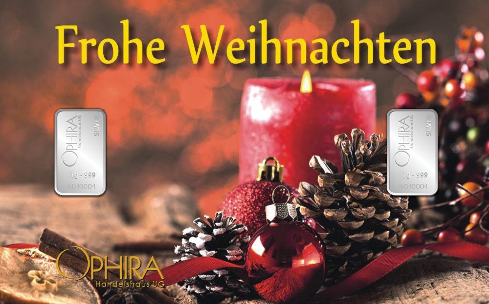 Geschenkbarren Motivbarren Frohe Weihnachten zweimal Silber in Kunststoffgehäuse und edlem Geschenketui