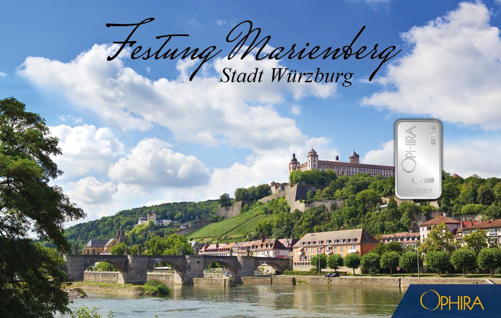 Geschenkbarren Würzburg Festung Marienberg mit 1 Silberbarren 1 g
