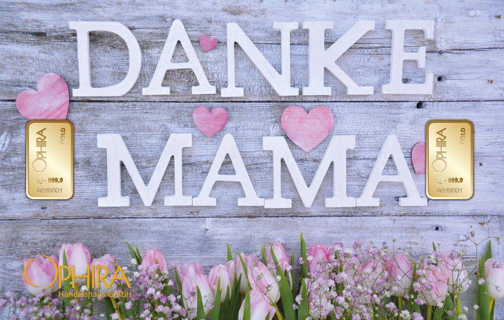 Geschenkbarren Motivbarren  Muttertag Danke Mama mit einem Goldbarren in Kunststoffgehäuse und edlem Geschenketui