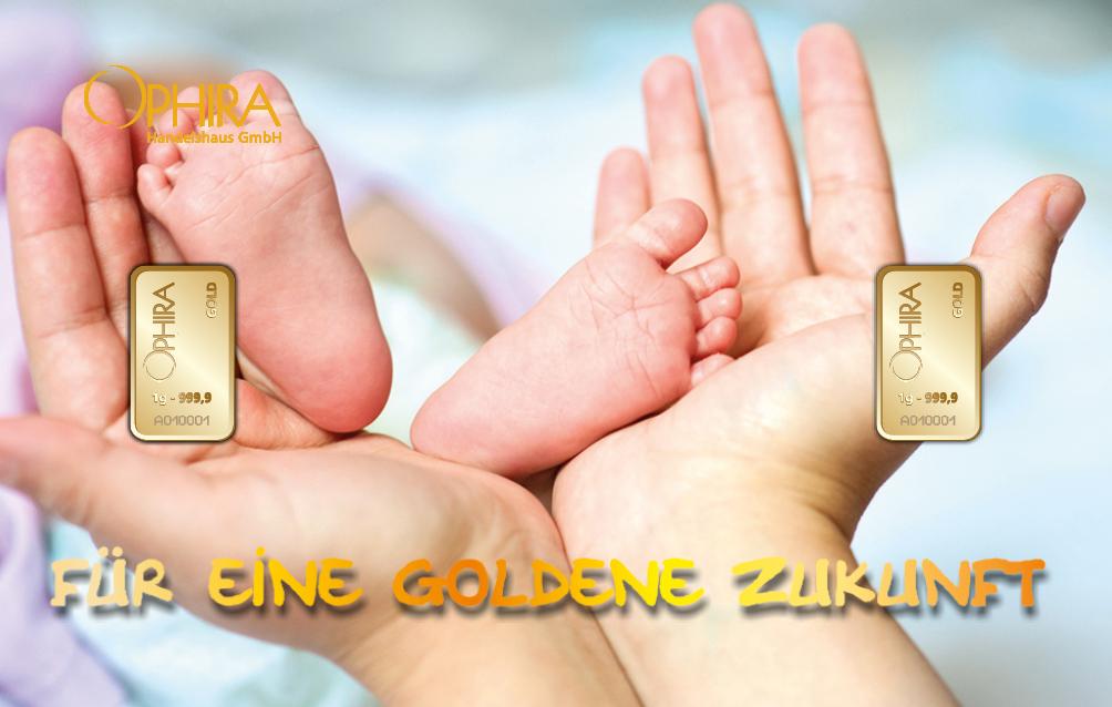 Geschenkbarren Motivbarren Gold Geburt Für eine goldene Zukunft mit einem Goldbarren in Kunststoffgehäuse und edlem Etui