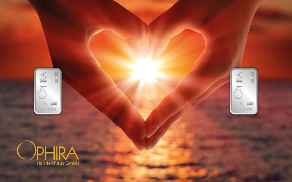 Geschenkbarren Motivbarren Valentinstag Silber Herz aus zwei Händen mit 2 Silberbarren in Kunstsoffgehäuse und edlem Etui