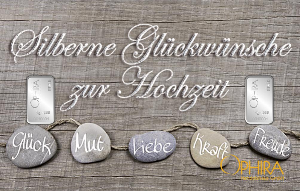 Geschenkbarren Motivbarren Silber Hochzeit Silberne Glückwünsche zur Hochzeit mit zweimal Silberbarren in Kunststoffgehäuse und edlem Geschenketui
