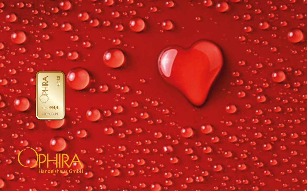 Geschenkbarren Motivbarren Valentinstag Gold Herz aus Wassertropfen einmal Gold in Kunststoffgehäuse und edlem Geschenktui