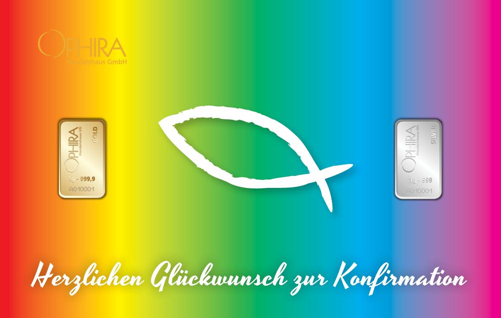 Geschenkbarren Motivbarren Konfirmation mit zwei Goldbarren in Kunststoffgehäuse und edlem Geschenketui