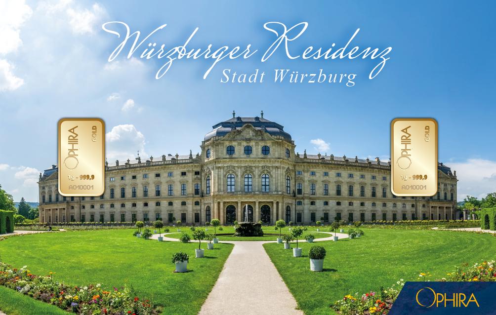 Geschenkbarren Würzburg Residenz mit zweimal 1 g Feingold