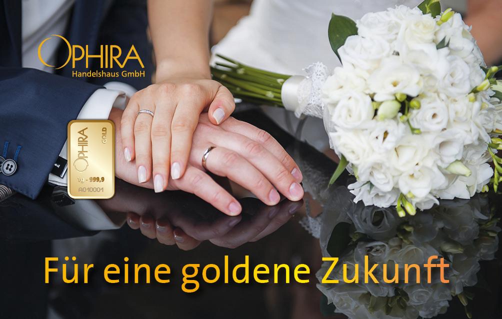 Geschenkbarren Motivbarren Gold Hochzeit Für eine goldene Zukunft mit einem Goldbarren in Kunststoffgehäuse und edlem Etui