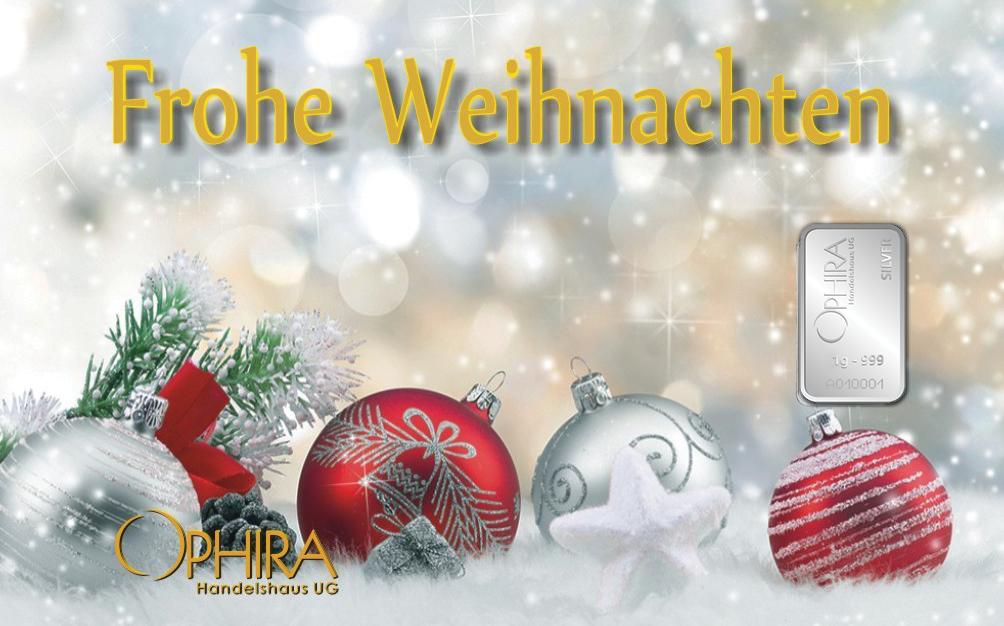 Geschenkbarren Motivbarren Frohe Weihnachten einmal Silberbarren in Kunststoffgehäuse und edlem Geschenketui