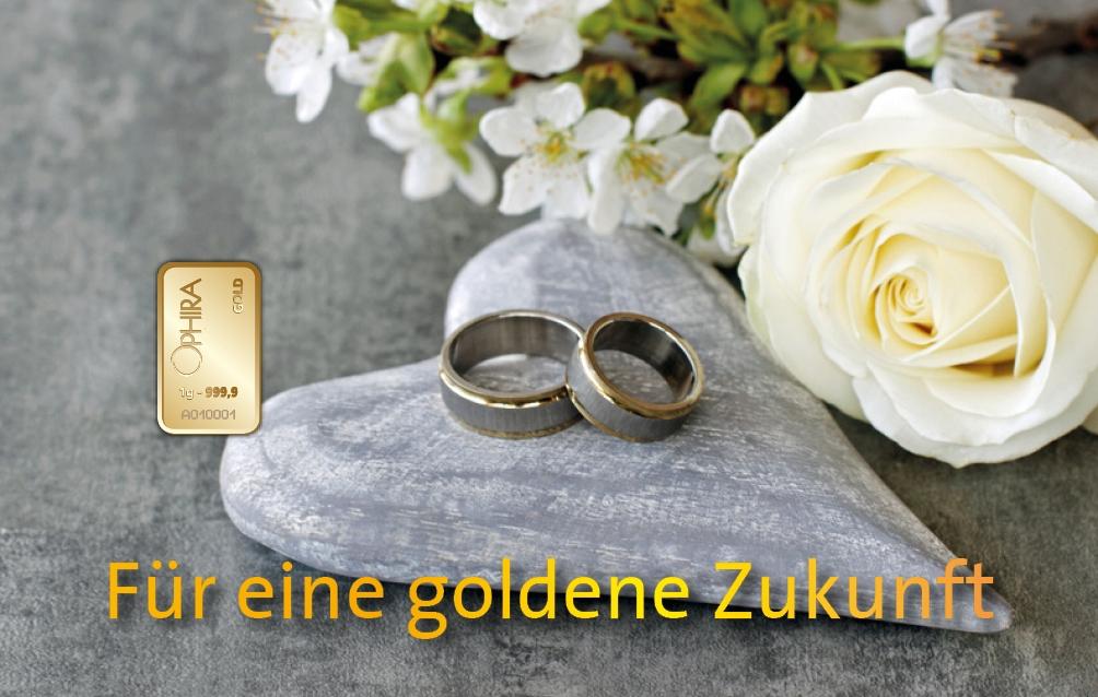 Geschenkbarren Motivbarren Gold Hochzeit Für eine goldene Zukunft mit einem Goldbarren in Kunststoffgehäuse und edlem Geschenketui