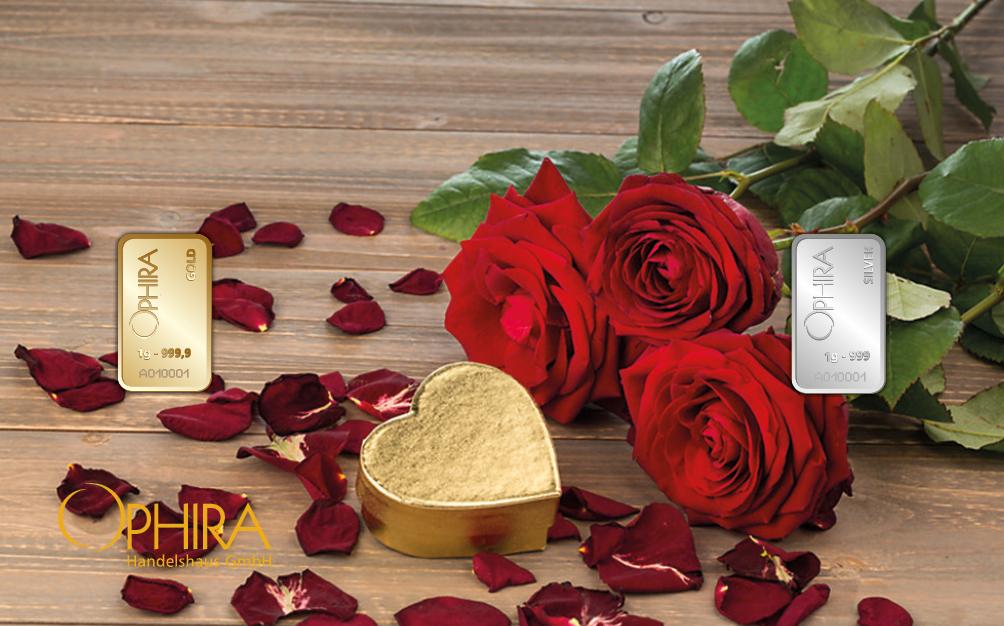 Geschenkbarren Motivbarren Valentinstag Geburtstag Muttertag Rosenstrauß  ein Golbarren und ein Silberbarren in Kunststoffgehäuse und edlem Etui