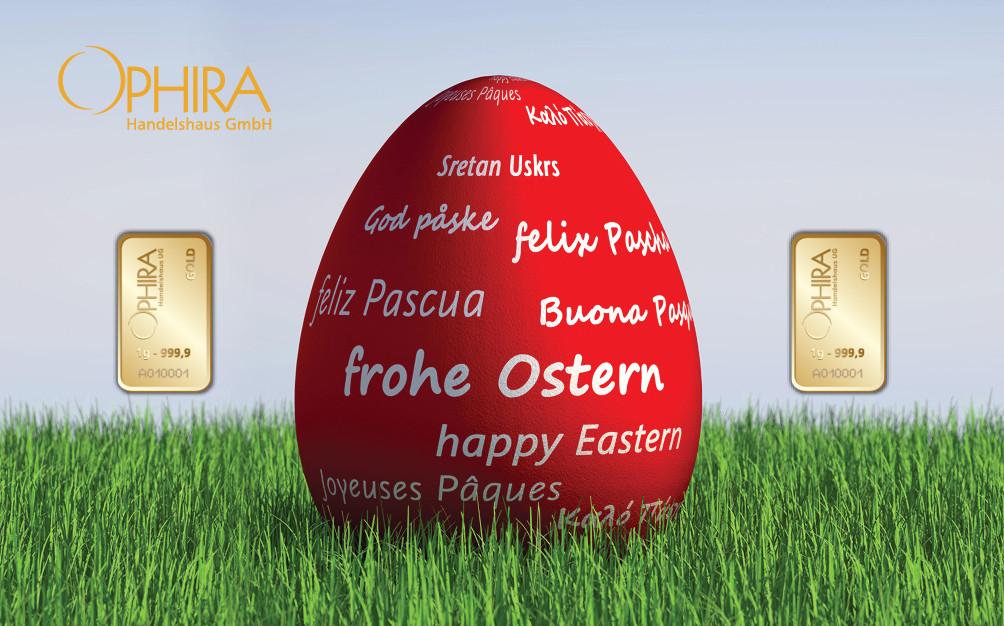 Geschenkbarren Motivbarren Ostern Osterei mit zweimal Goldbarren in Kunststoffgehäuse und edlem Geschenketui