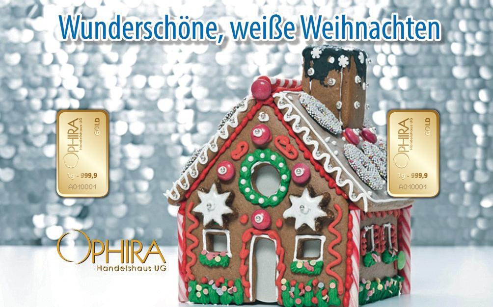 Geschenkbarren Motivbarren Wunderschöne, weisse Weihnachten zweimal Goldbarren in Kunststoffgehäuse und edlem Geschenketui