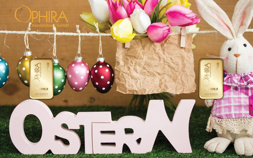 Geschenkbarren Motivbarren Gold Ostern mit Goldbarren LBMA zertifiziert in Kunststoffgehäuse und edlem Geschenketui