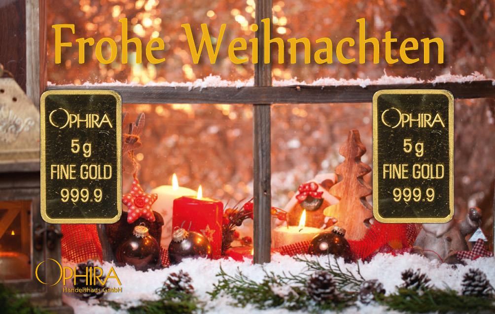 Geschenkbarren Weihnachten mit zwei Goldbarren