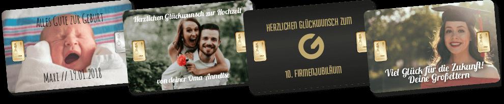 Bei uns können Sie für jedem Anlass individuelle Geschenkbarren bestellen - Goldbarren, Silberbarren oder Gold- und Silberbarren möglich