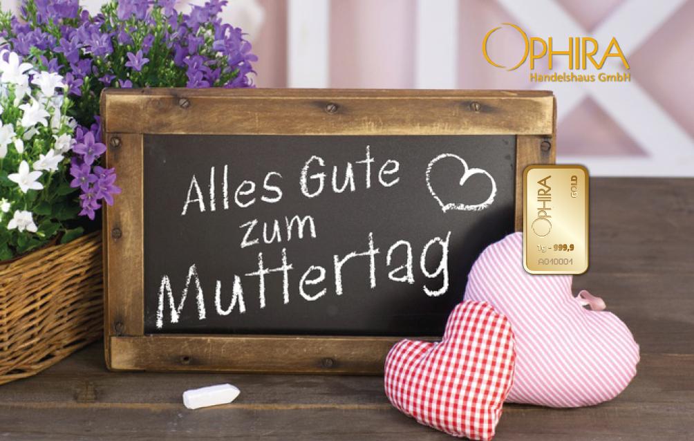 Geschenkbarren Motivbarren Gold Muttertag Alles Liebe zum Muttertag mit einem Goldbarren in Kunststoffgehäuse und edlem Etui
