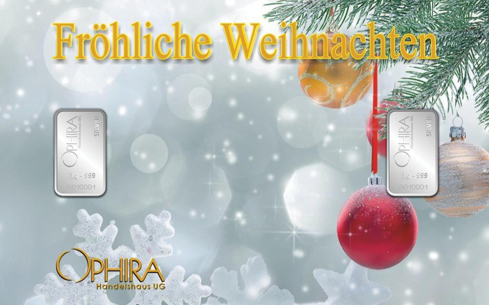 Geschenkbarren Fröhliche Weihnachten zweimal Silber
