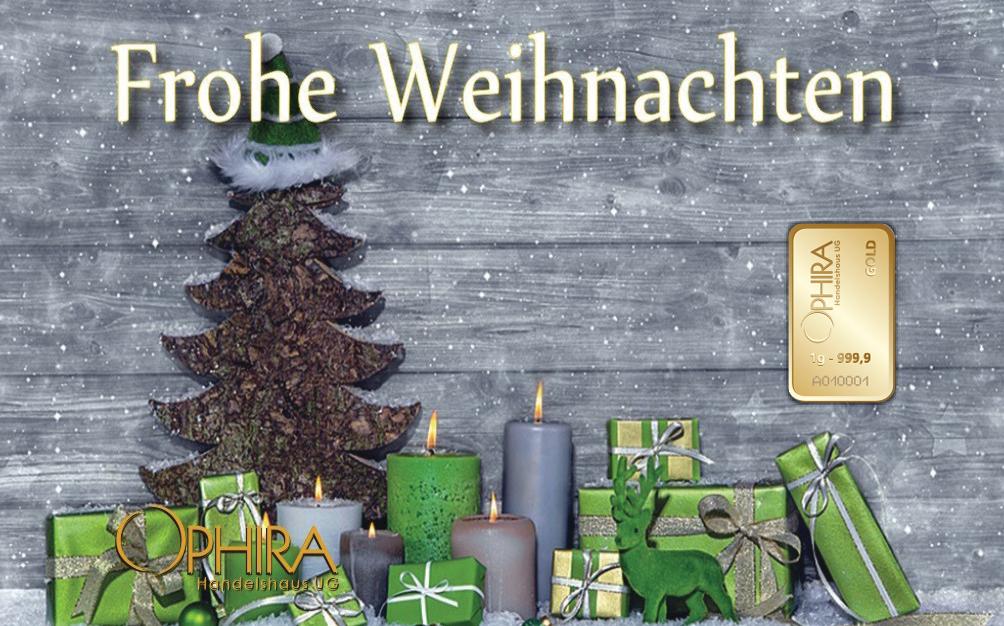 Geschenkbarren Motivbarren Frohe Weihnachten einmal Goldbarren in Kunststoffgehäuse und edlem Geschenketui