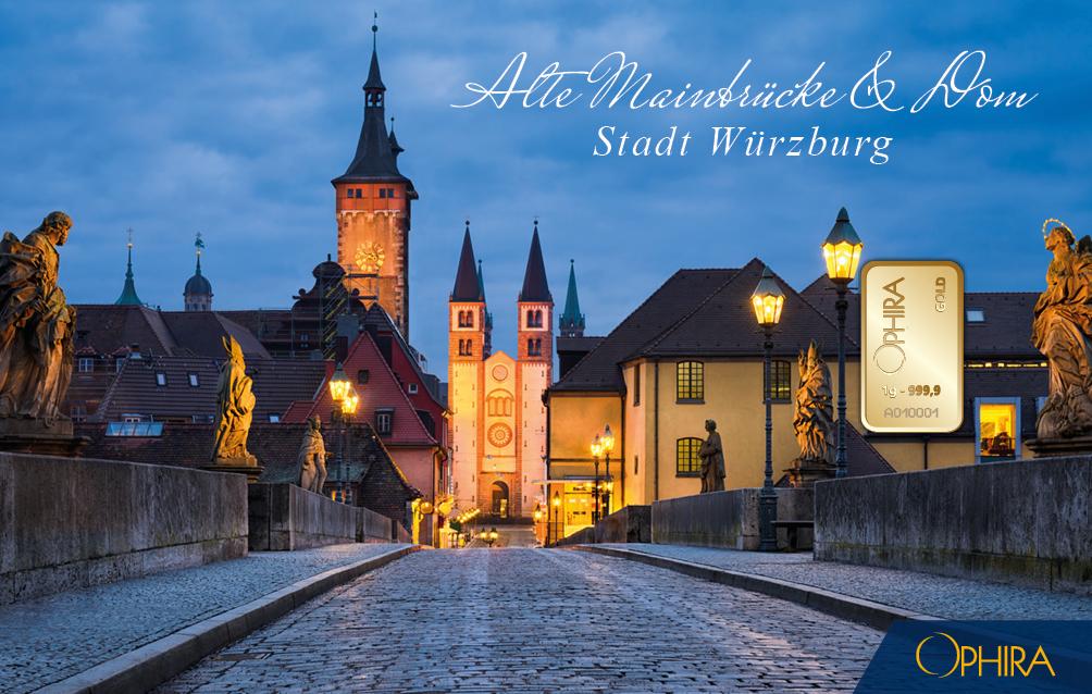 Geschenkbarren Würzburg Blick von der Mainbrüke zum Dom mit einem Goldbarren