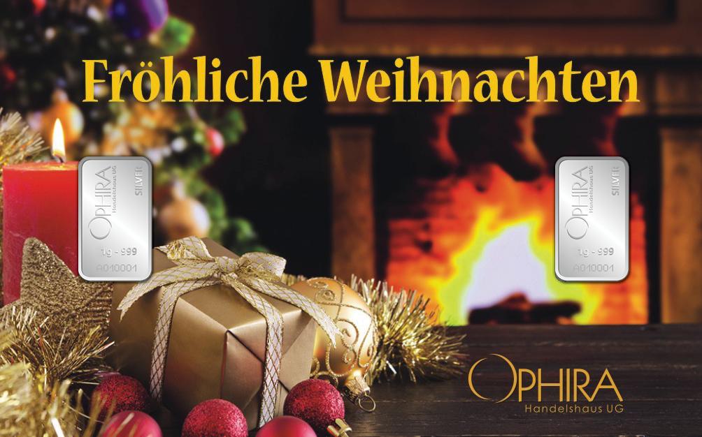 Geschenkbarren Motivbarren Fröhliche Weihnachten zweimal Silberbarren in Kunststoffgehäuse und edlem Geschenketui
