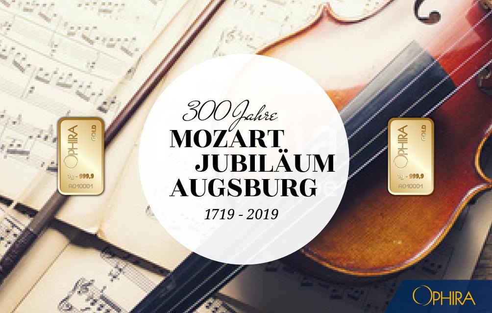 Geschenkbarren Mozart mit zwei Goldbarren