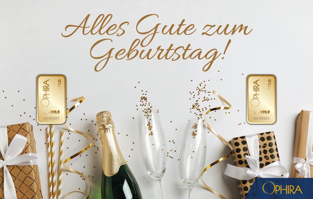 Geschenkbarren Geburtstag Sektflasche und Sektgläser zweimal 1 g Feingold