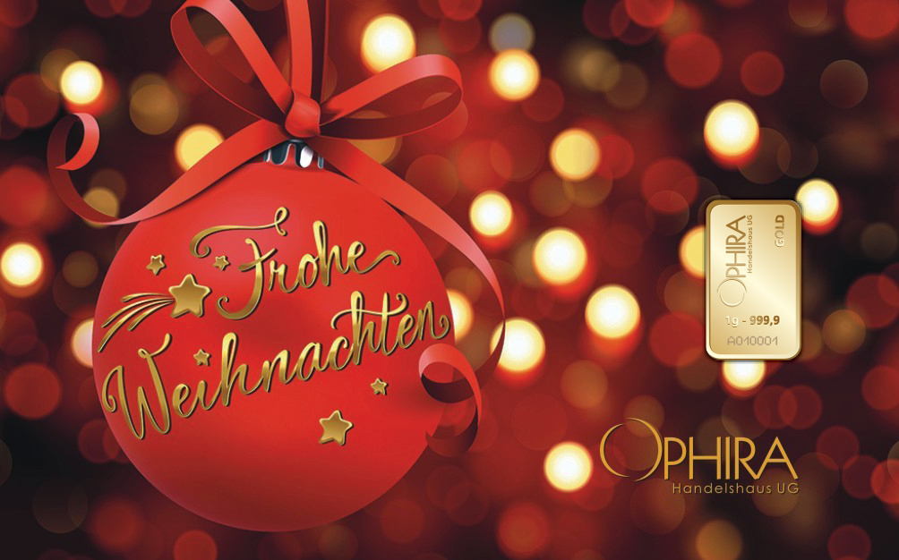 Geschenkbarren Motivbarren Frohe Weihnachten mit einmal Goldbarren in Kunststoffgehäuse und edlem Geschenketui