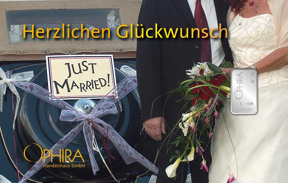 Geschenkbarren Motivbarren Silber Hochzeit Zur Hochzeit alles Gute mit einem Silberbarren in Kunststoffgehäuse und edlem Geschenketui