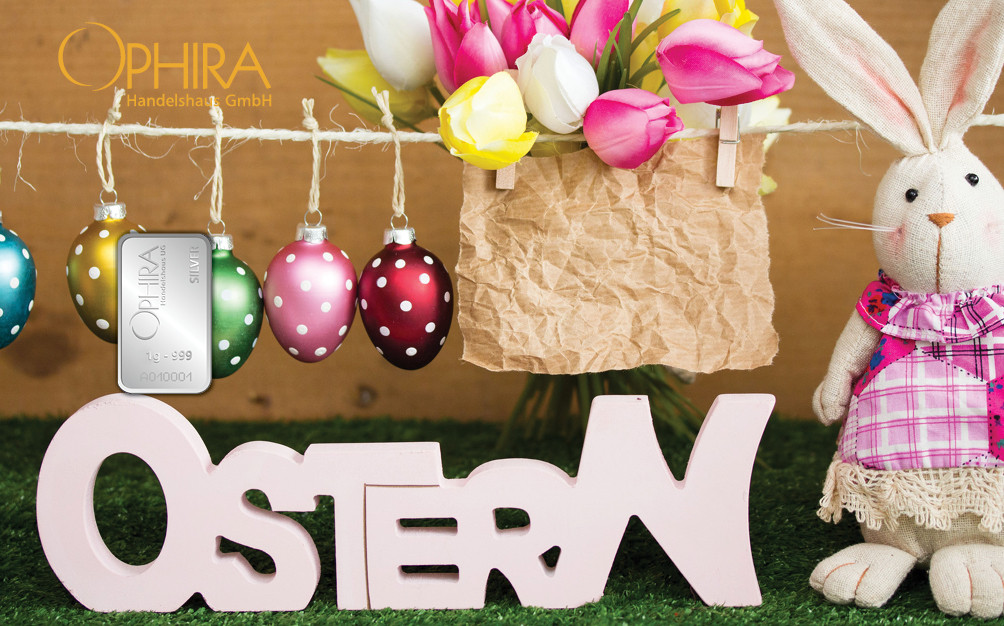 Geschenkbarren Motivbarren Ostern mit einem Silberbarren in Kunststoffgehäuse und edlem Geschenkentui