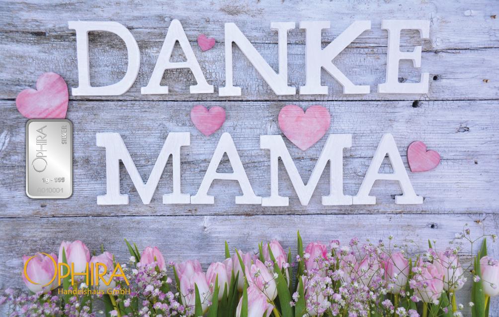 Geschenkbarren Motivbarren Gold Muttertag  Danke Mama mit Silberbarren in Kunststoffgehäuse und edlem Geschenketui