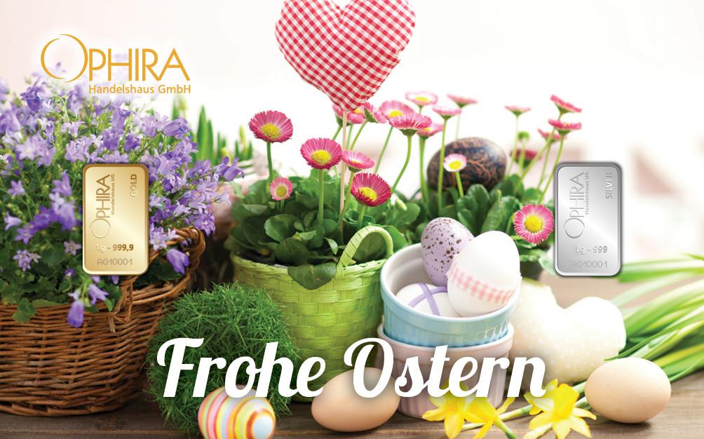 Geschenkbarren Motivbarren Ostern mit einem Goldbarren und einem Silberbarren in Kunststoffgehäuse und edlem Geschenketui