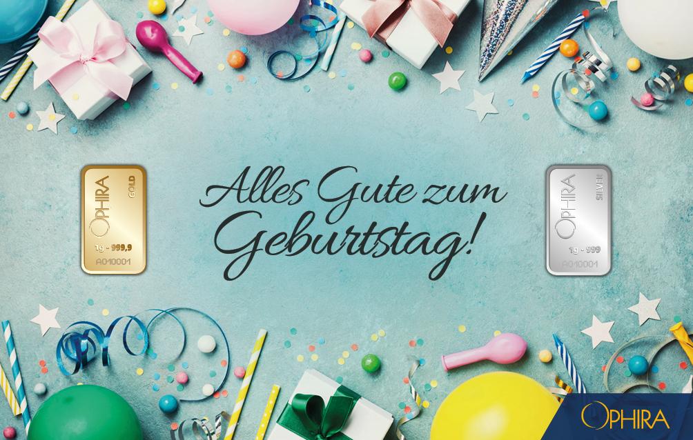 Geschenkbarren Geburtstag mit 2 Goldbarren je 1 g Feigold