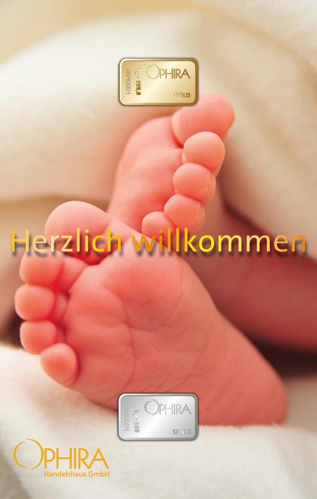 Geschenkbarren Motivbarren Gold und Silber Geburt Herzlich Willkommen ind Kunststoffgehäuse und edlem Geschenketui