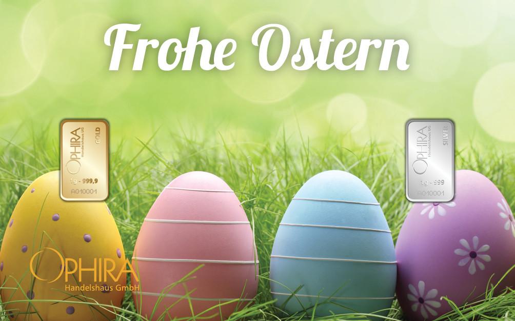 Geschenkbarren Motivbarren Ostern mit einmal Gold- und Silberbarren in Kunststoffgehäuse und edlem Geschenketui