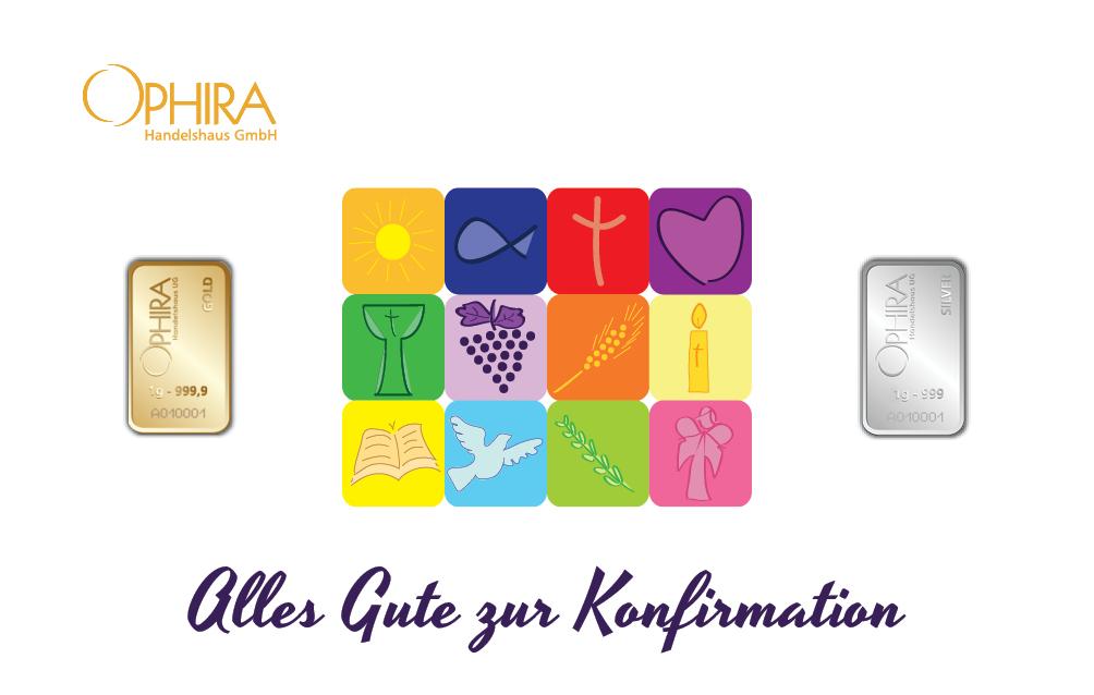 Geschenkbarren Motivbarren Konfirmation mit einem Silber- und einem Goldbarren in Kunststoffgehäuse und edlem Geschenketui