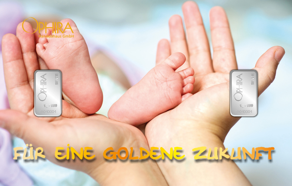 Geschenkbarren Motivbarren Silber Für eine goldene Zukunft mit zweimal Silber in Kunststoffgehäuse und edlem Geschenketui