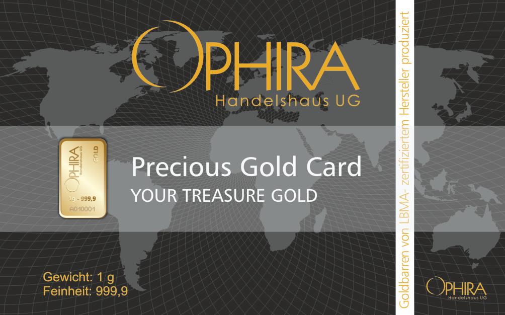 Geschenkbarren OPHIRA Goldkarte mit einem Goldbarren