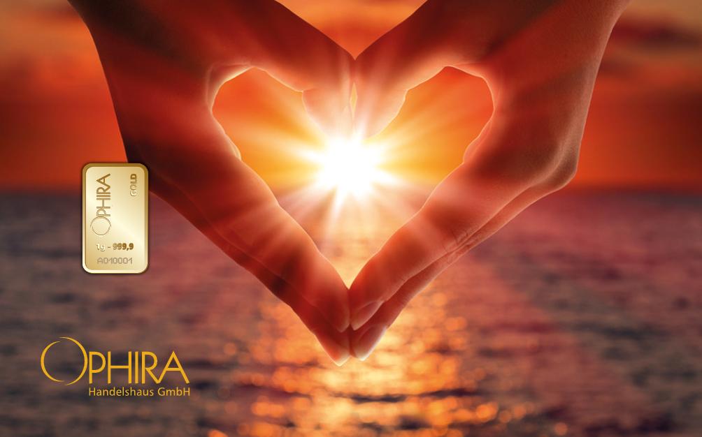 Geschenkbarren Motivbarren Valentinstag Gold Herz aus zwei Händen mit einem Goldbarren in Kunstsoffgehäuse und edlem Etui