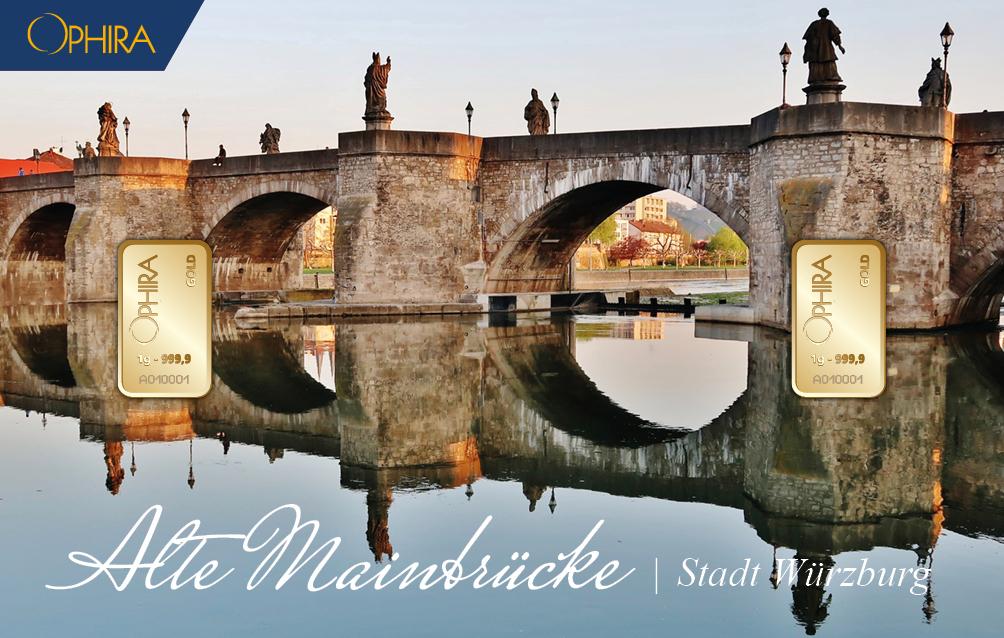 Geschenkbarren Würzburg Mainbrücke mit zwei Goldbarren