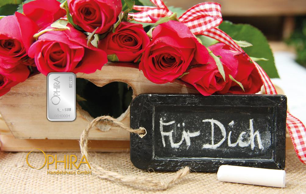 Geschenkbarren Motivbarren Silber Muttertag Geburtstag Valentinstag Für Dich mit einem Silberbarren in Kunstoffgehäuse und edlem Etui