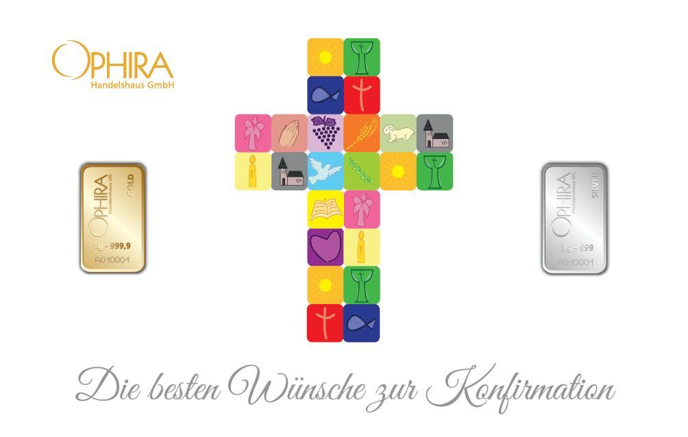 Geschenkbarren Motivbarren Konfirmation mit einem Gold- und einem Silberbarren in Kunststoffgehäuse und edlem Geschenketui