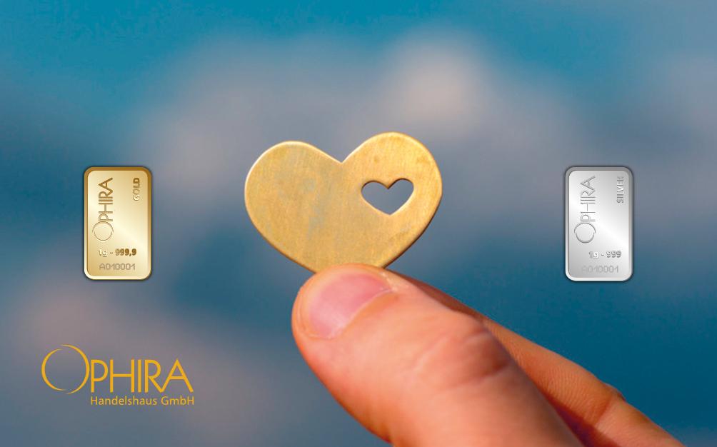Geschenkbarren Motivbarren Valentinstag Herz im Herz ein Goldbarren und ein Silberbarren in Kunststoffgehäuse und edlem Geschenketui