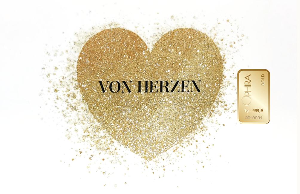 Geschenkbarren von Herzen mit zwei Goldbarren und edlem Etui