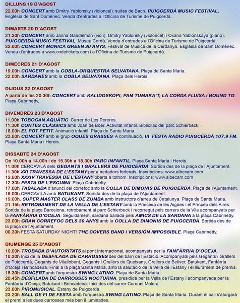 Agenda de la festa de l'Estany de Puigcerdà 2019