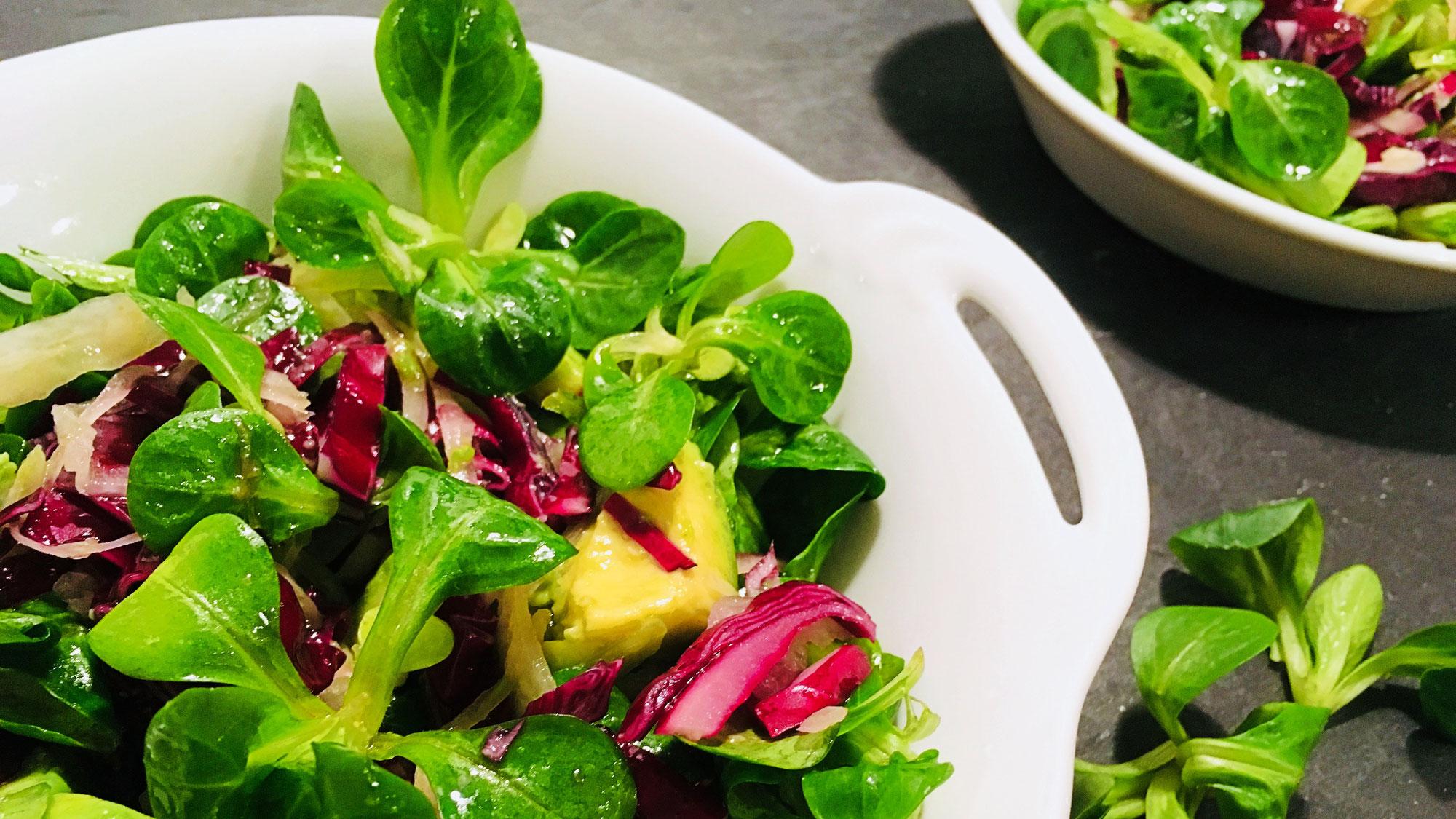 Schneller Salat grün - pink