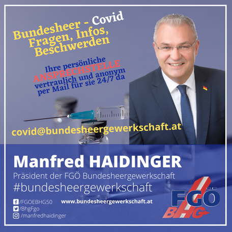 Bundesheergewerkschaft Haidinger empört: Nun doch Zwangsimpfung im Bundesheer!