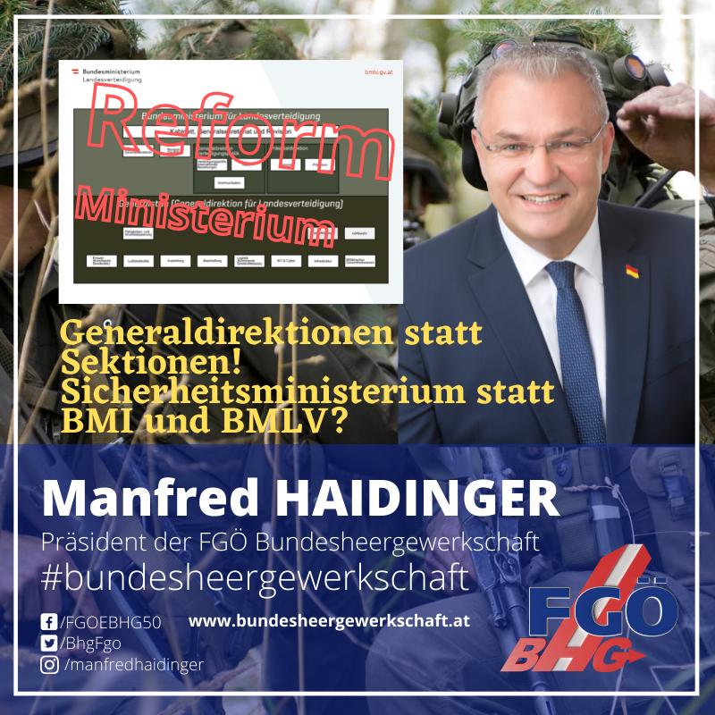 Bundesheergewerkschaft: Generaldirektionen statt Sektionen!
